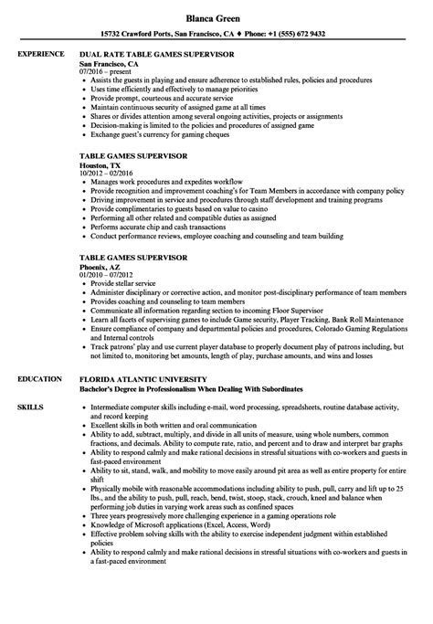 table supervisor resume sles velvet