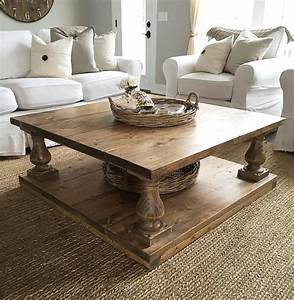 large square rustic baluster wide plank coffee table With rustic cream coffee table