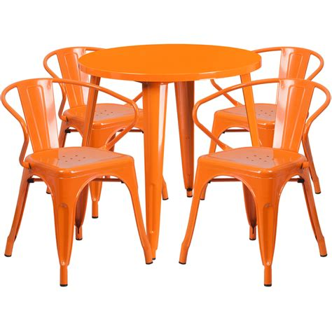 30 orange metal indoor outdoor table set with 4