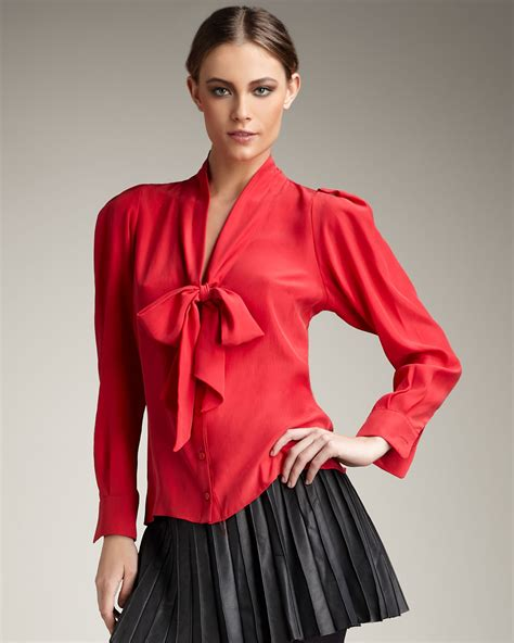 tie neck blouses silk tie neck blouse in lyst