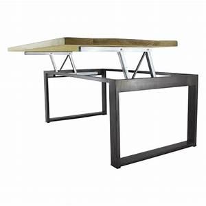 Table Basse Hauteur 60 Cm : table basse relevable de style industriel mod le mirage ~ Nature-et-papiers.com Idées de Décoration