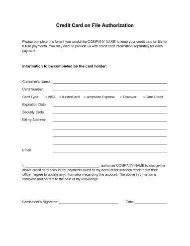 authorization for credit card use free forms