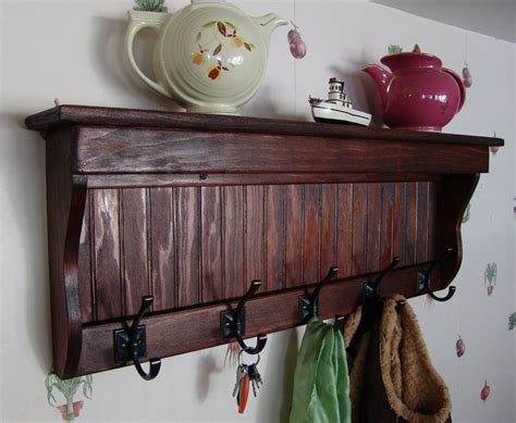 "35"" Handcrafted Wooden Wall Mount Coat Rack, Display Shelf"