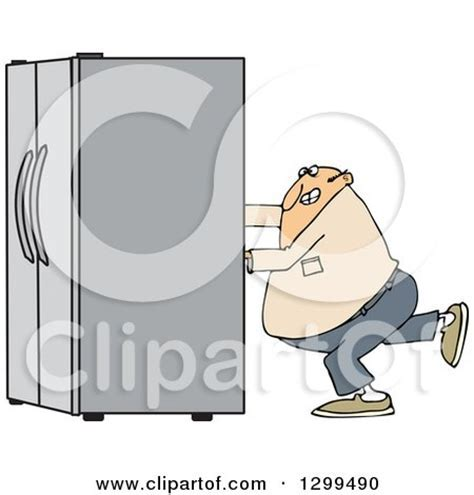 Clipart of a Cartoon Refrigerator Character Showing Empty
