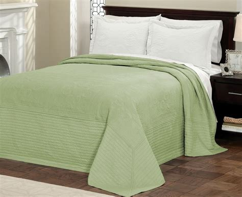 Green Coverlets by Green Matelasse King Bedspread Cotton Fill Quilt