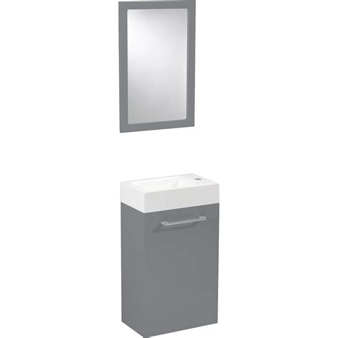 meuble lave mains avec miroir gris galet n 176 3 sensea remix leroy merlin