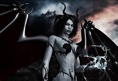 Demon Dark Wings Horns Magic Female Wallpapers