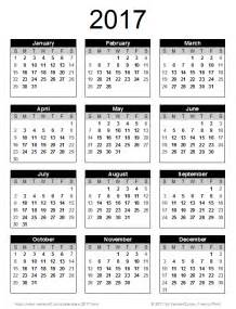 Year 2017 Calendar Printable