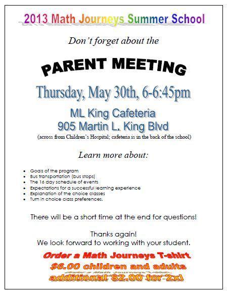 Parent Meeting  Thursday, May 30th  Math Journeys