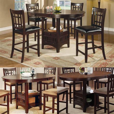cappuccino dark cherry storage counter height leaf pub table dining kitchen set ebay