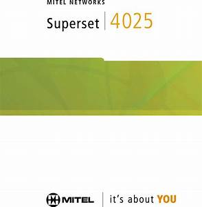 Mitel Superset 4025 User Manual
