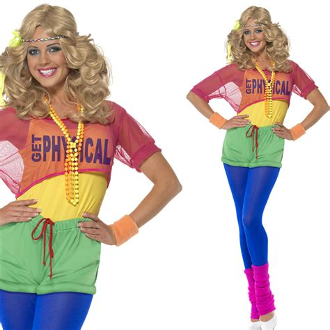 Ladies 80s Neon Fancy Dress Costume u2013 1980s Letu2019s Get Physical Fame Dance Outfit   eBay
