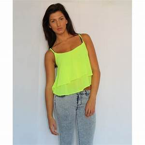 Neon Green Strappy Chiffon Top