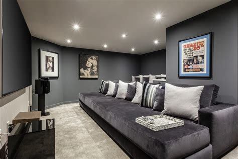 sparkling dark gray decorating ideas home theater