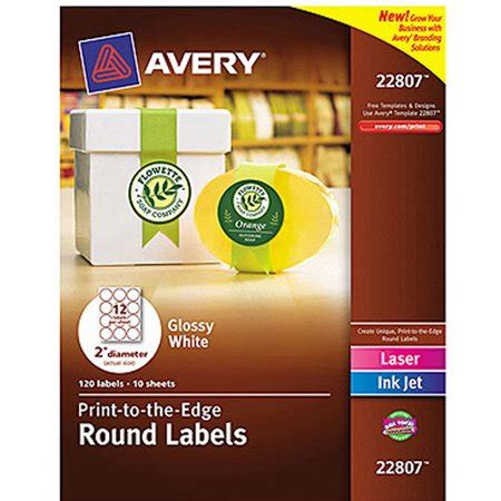 Avery 22807 Printtotheedge White Round Labels, Glossy