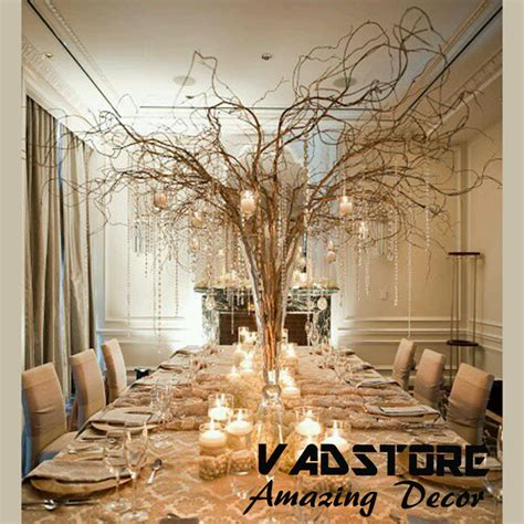 ft naturial brown willow branches wedding table