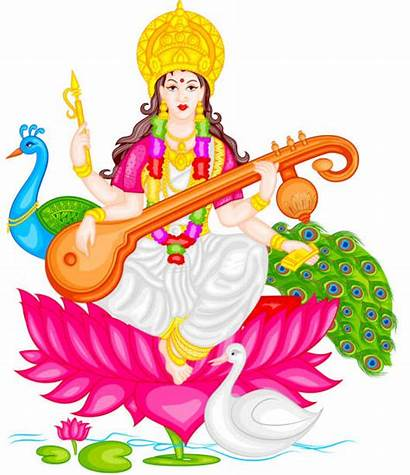 Saraswati Goddess Vector Illustration Clip Puja India
