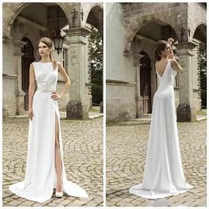 cheapest white a line wedding dresses bateau neck split With wedding dress with split