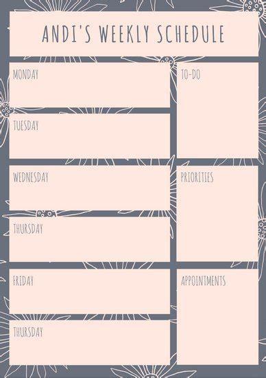 weekly schedule planner task list templates