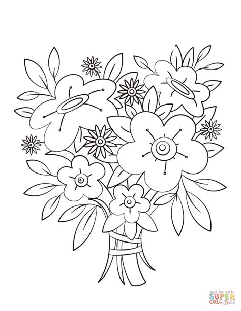 Wedding Flowers Coloring Pages Flowers Bouquet Coloring Page Free Printable Coloring Pages