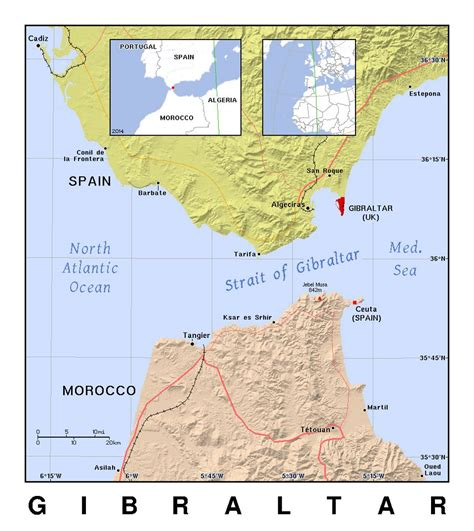 detailed political map  gibraltar  relief