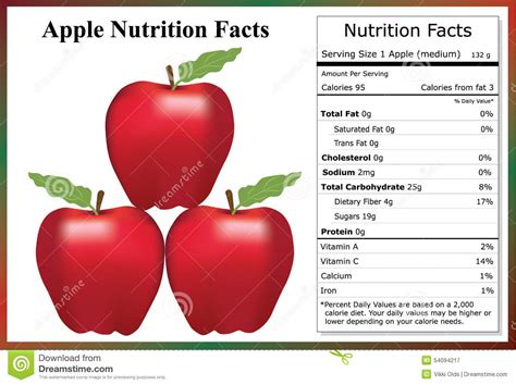 Apple Nutrition Facts stock vector. Illustration of ...
