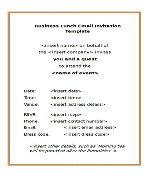business  mail invitation templates word  psd