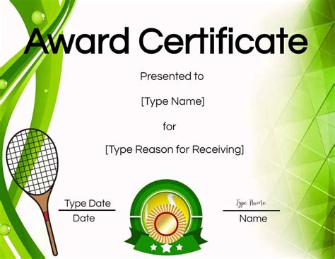 tennis certificate customize  print
