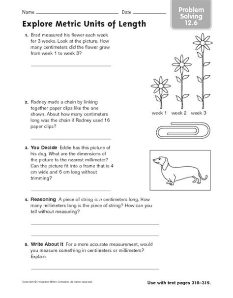 explore metric units of length problem solving 12 6 worksheet for 3rd 4th grade lesson planet
