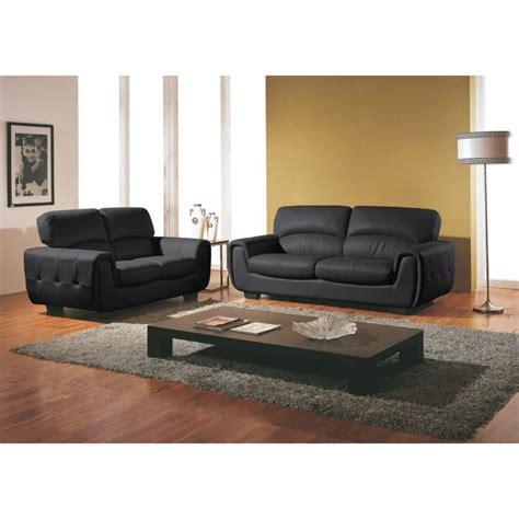 cdiscount canape cuir canapé 3 2 places cuir design noir achat vente