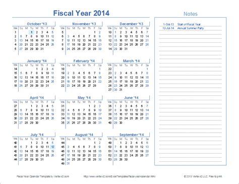 fiscal year calendar template