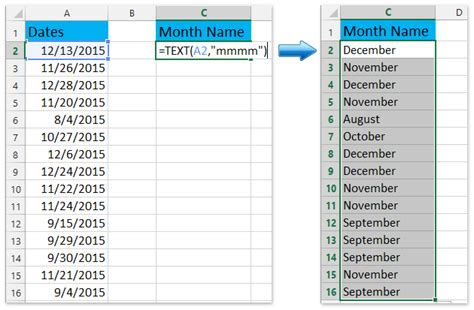 convert date weekday month excel