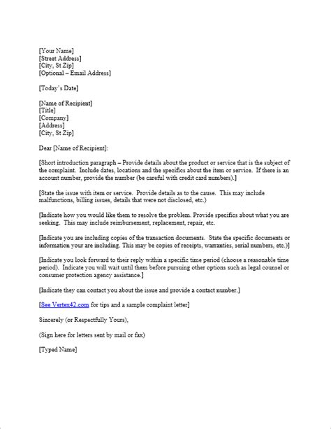 Free Complaint Letter Template | Sample Letter of Complaint