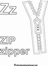 Zipper Coloring Zip Letter Activity Alphabet Colouring sketch template