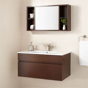 33quot dimitri wall mount vanity and mirrored storage bathroom for Wall mounted vanity