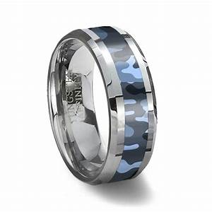 Blue camouflage tungsten wedding ring for Tungsten camo wedding rings