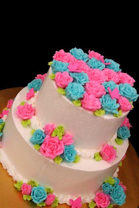 cakescupcakesbrownies wedding stacked cake blue