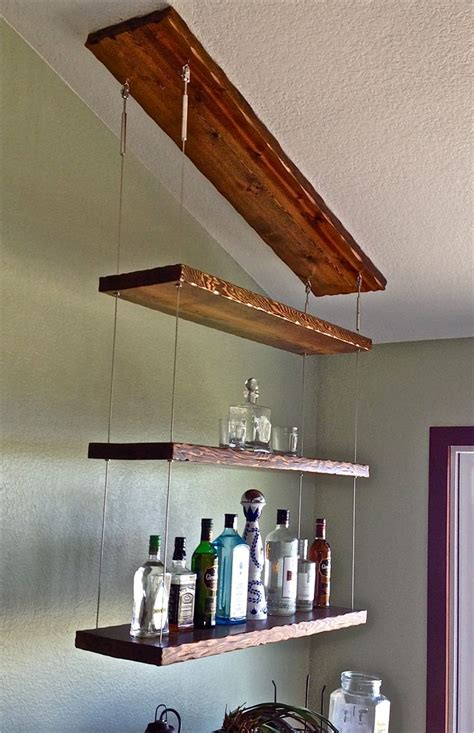 distressed hardwood  stainless cable suspended liquor