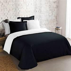 Parure Lit Adulte : parure de lit 2 personnes r versible linge de lit blanc noir kiabi 29 91 ~ Teatrodelosmanantiales.com Idées de Décoration