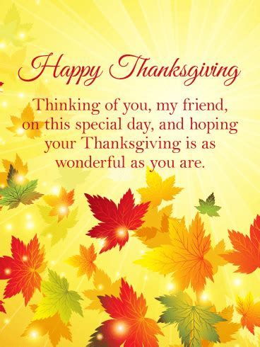 thinking   happy thanksgiving card  friends