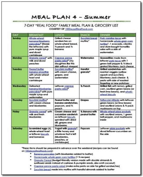 cuisine plan free summer food meal plan 100 days of food