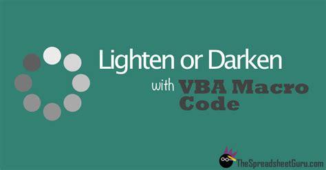 vba color codes vba code to lighten or darken fill colors in excel the