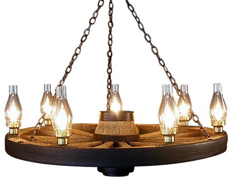 large wagon wheel chandelier chimney lights rustic
