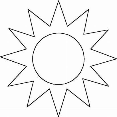 Sun Outline Sunshine Printable Moon Coloring Clipart