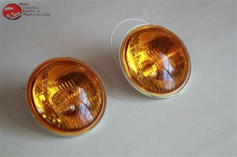 Amber Lens Fog Lamp Light Replacement Bulbs Vintage Style