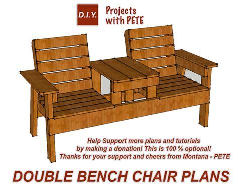 diy pete double chair bench plans donation  optional