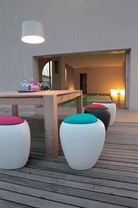 Ottoman with cushion, multifunction, for outdoors