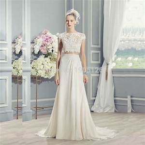 off white lace two piece wedding dress chiffon bridal gown With off white dresses for weddings