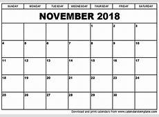 November 2018 Calendar PDF monthly printable calendar