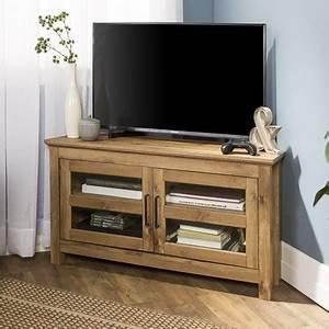 44quot wood corner tv media stand storage console barnwood With barnwood corner tv stand